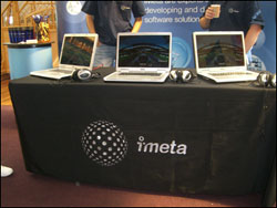 Exhibition tablecloths in use at an event